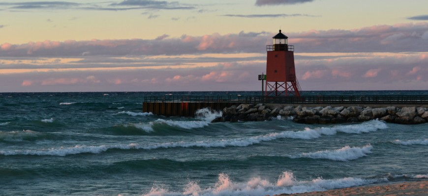 Sunset On The Waves Lake Michigan, Charlevoix, October 2013